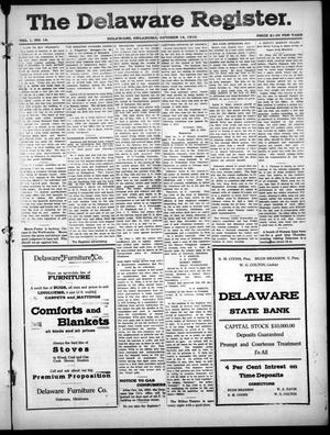 Primary view of object titled 'The Delaware Register. (Delaware, Okla.), Vol. 1, No. 16, Ed. 1 Friday, October 14, 1910'.