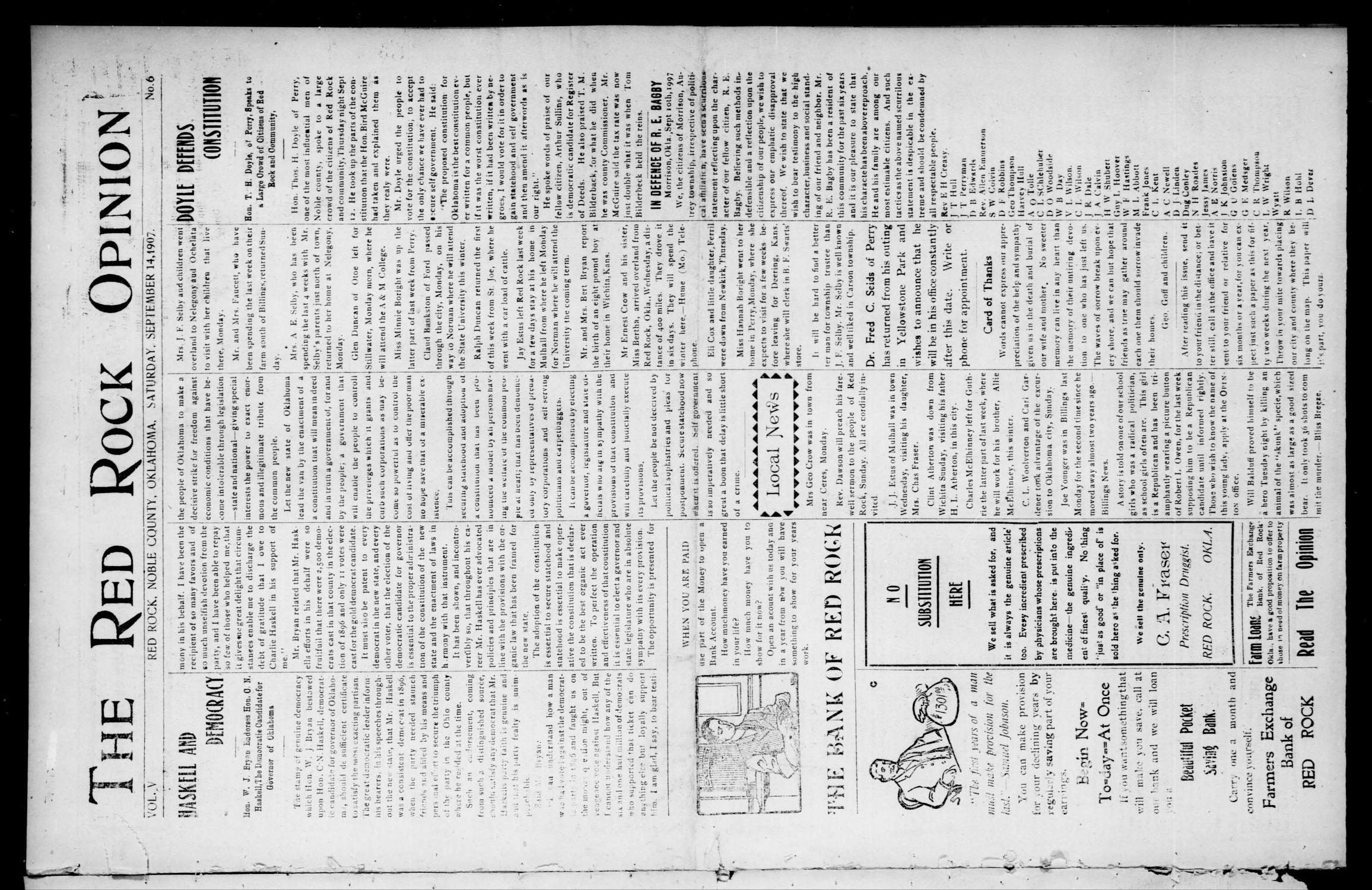 The Red Rock Opinion (Red Rock, Okla.), Vol. 5, No. 6, Ed. 1 Saturday, September 14, 1907                                                                                                      [Sequence #]: 1 of 8
