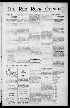 Primary view of object titled 'The Red Rock Opinion (Red Rock, Okla.), Vol. 5, No. 6, Ed. 1 Saturday, September 14, 1907'.