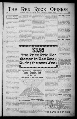 Primary view of object titled 'The Red Rock Opinion (Red Rock, Okla.), Vol. 5, No. 10, Ed. 1 Saturday, October 12, 1907'.