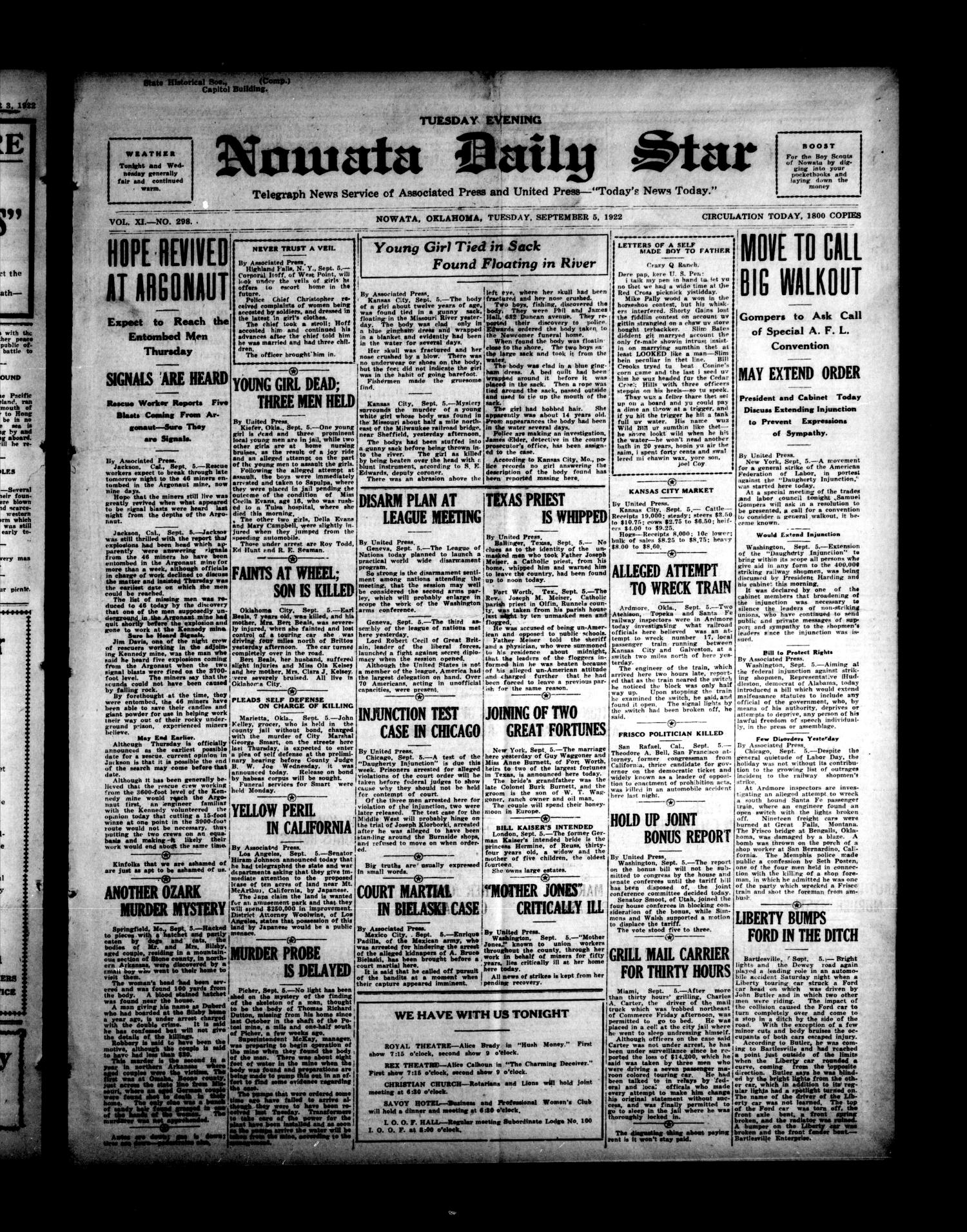 Nowata Daily Star (Nowata, Okla.), Vol. 11, No. 298, Ed. 1 Tuesday, September 5, 1922                                                                                                      [Sequence #]: 1 of 6