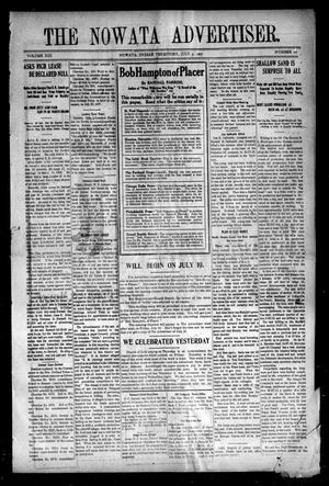 Primary view of object titled 'The Nowata Advertiser. (Nowata, Indian Terr.), Vol. 13, No. 16, Ed. 1 Friday, July 5, 1907'.