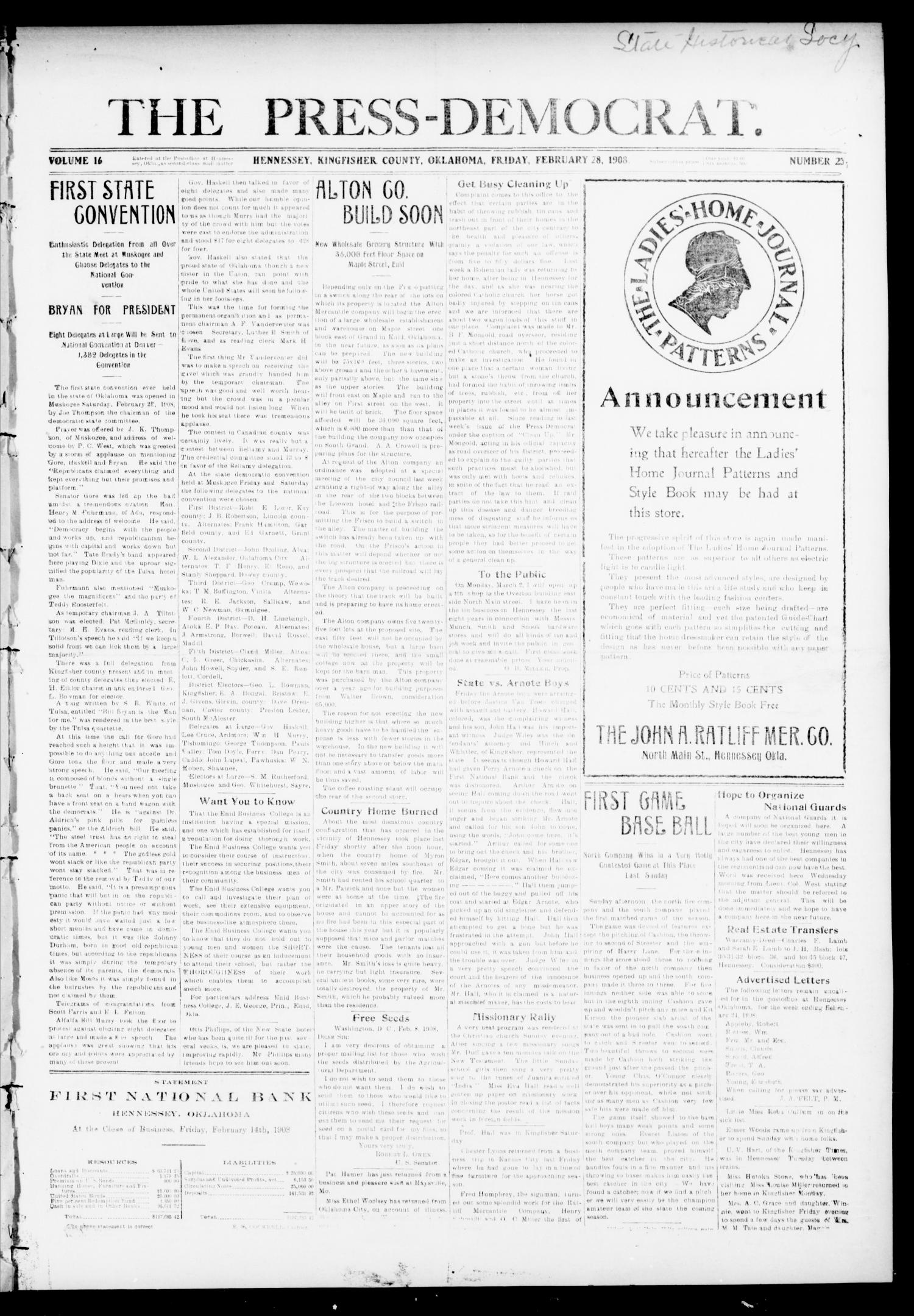 The Press-Democrat. (Hennessey, Okla.), Vol. 16, No. 23, Ed. 1 Friday, February 28, 1908                                                                                                      [Sequence #]: 1 of 4