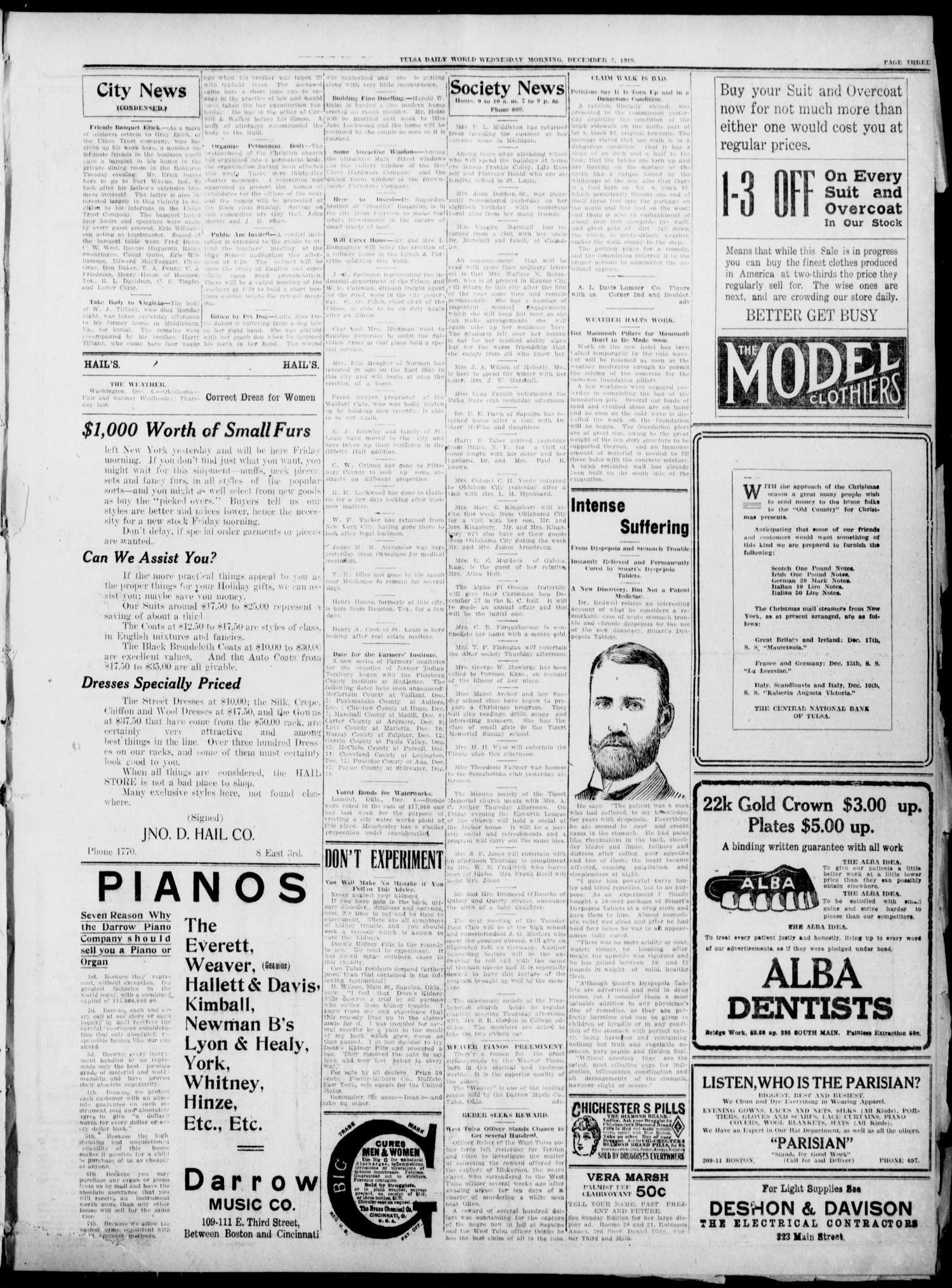Tulsa Daily World (Tulsa, Okla.), Vol. 6, No. 67, Ed. 1 Wednesday, December 7, 1910                                                                                                      [Sequence #]: 3 of 10