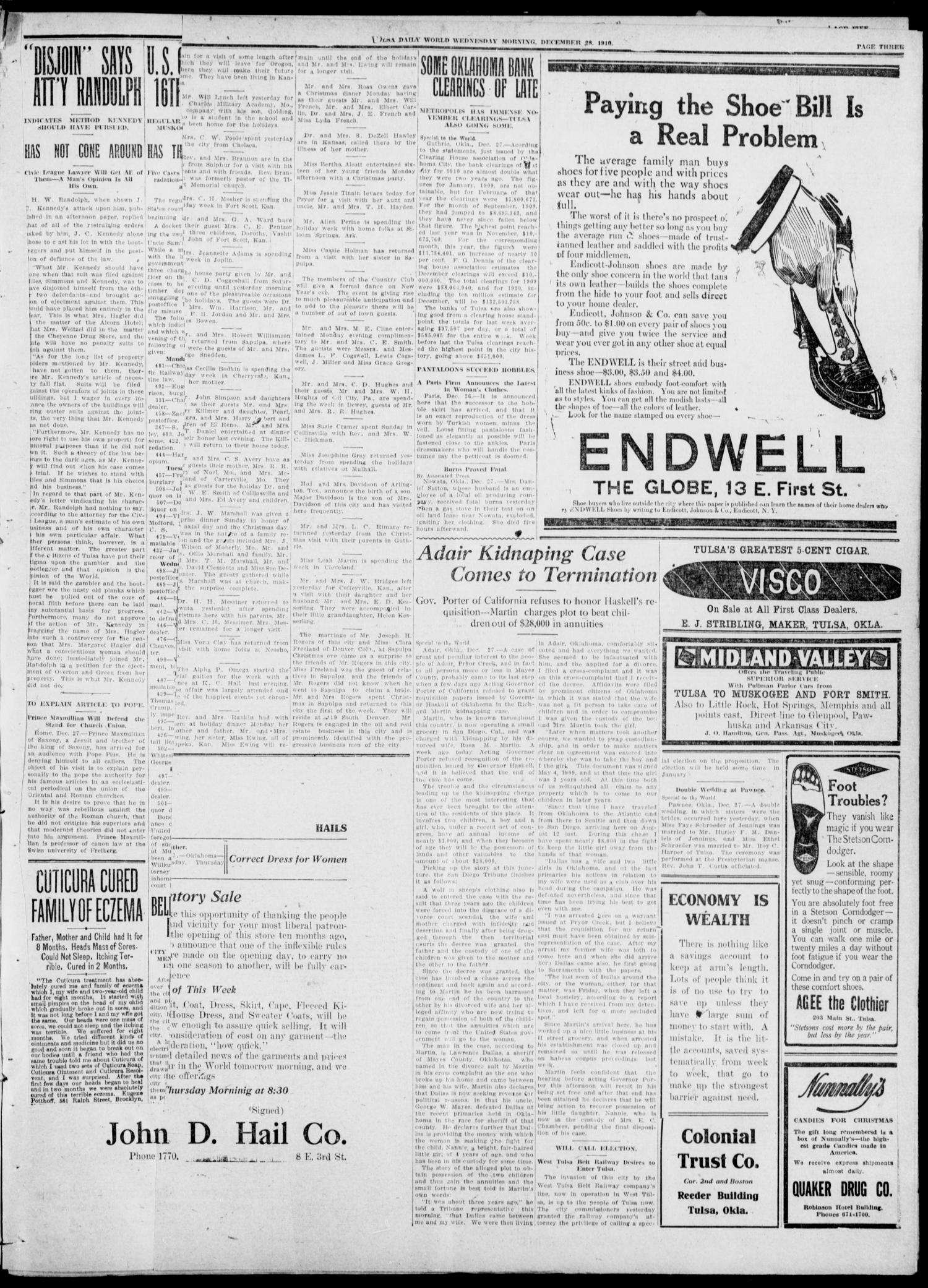 Tulsa Daily World (Tulsa, Okla.), Vol. 6, No. 85, Ed. 1 Wednesday, December 28, 1910                                                                                                      [Sequence #]: 3 of 8