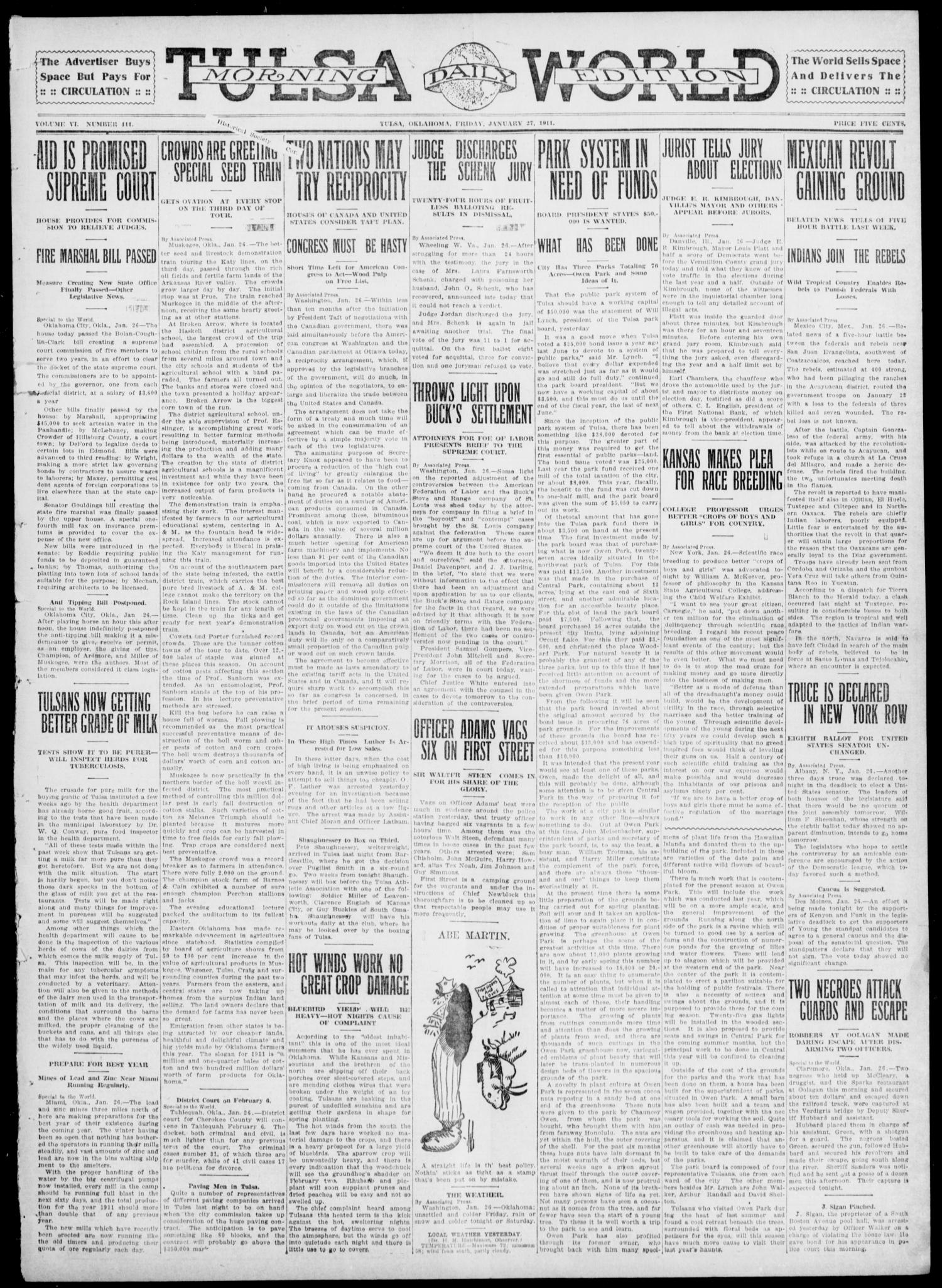 Tulsa Daily World (Tulsa, Okla.), Vol. 6, No. 111, Ed. 1 Friday, January 27, 1911                                                                                                      [Sequence #]: 1 of 8