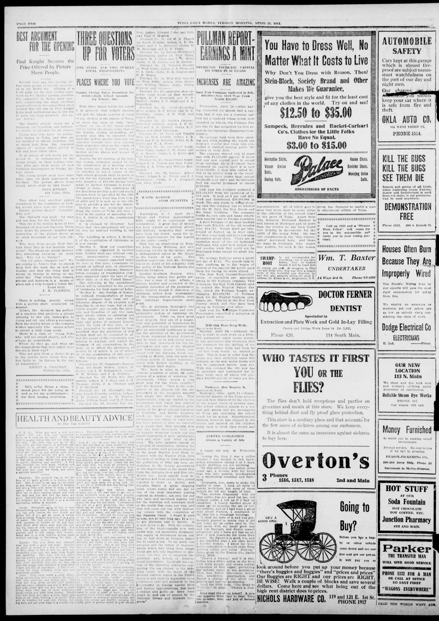 Tulsa Daily World (Tulsa, Okla.), Vol. 6, No. 186, Ed. 1 Tuesday, April 25, 1911                                                                                                      [Sequence #]: 2 of 10