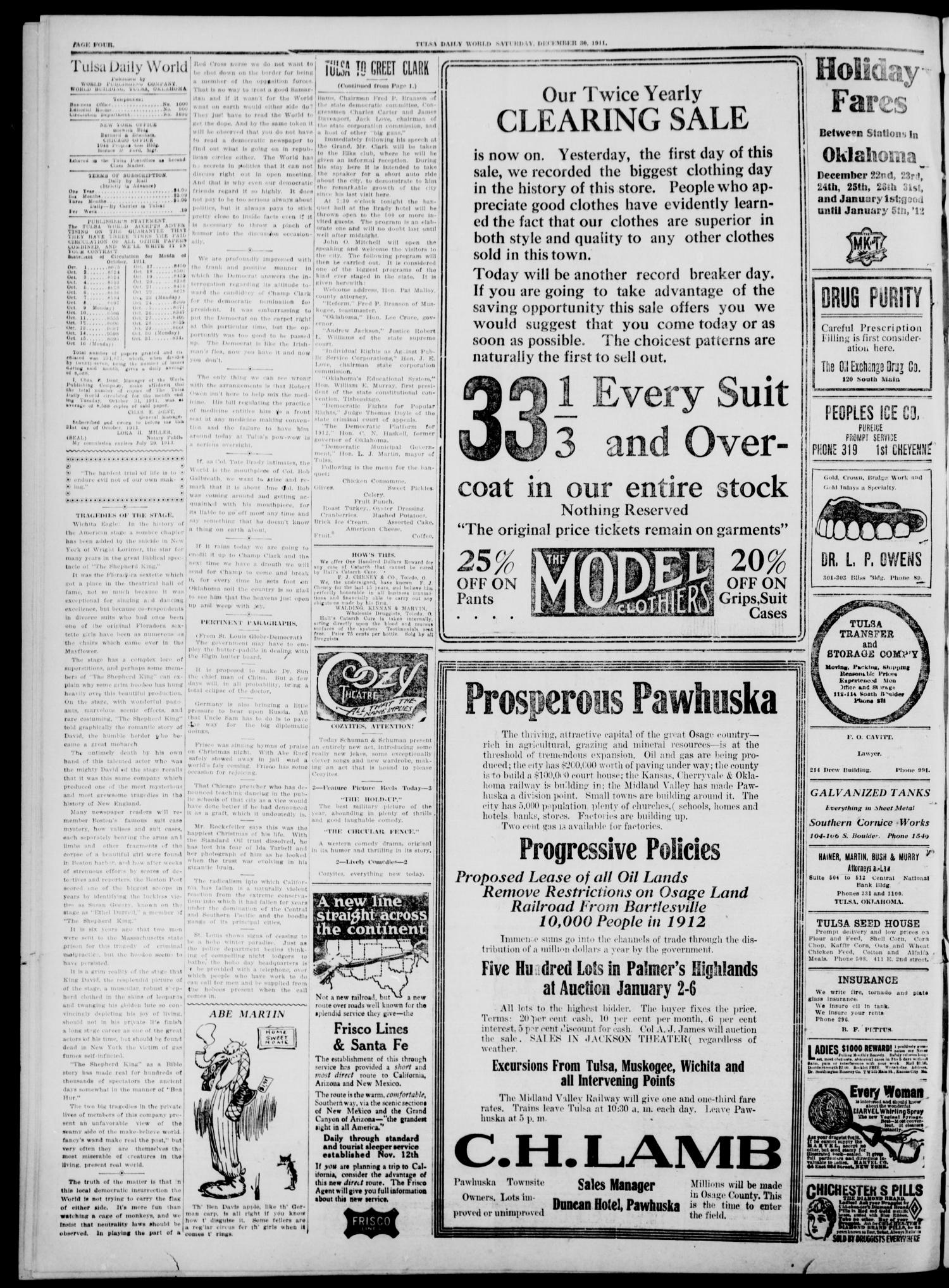 Tulsa Daily World (Tulsa, Okla.), Vol. 7, No. 89, Ed. 1 Saturday, December 30, 1911                                                                                                      [Sequence #]: 4 of 8