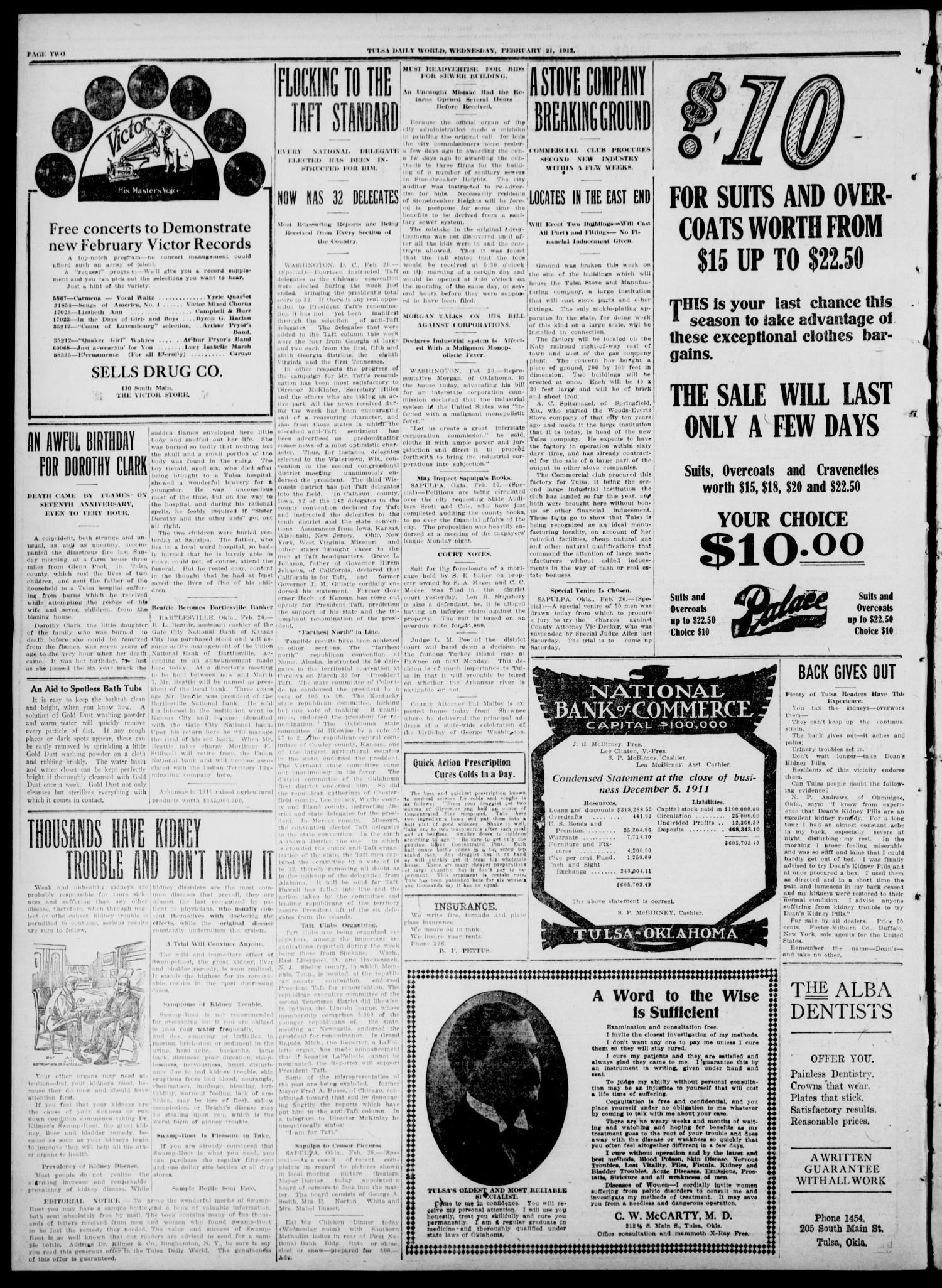 Tulsa Daily World (Tulsa, Okla.), Vol. 7, No. 134, Ed. 1 Wednesday, February 21, 1912                                                                                                      [Sequence #]: 2 of 8