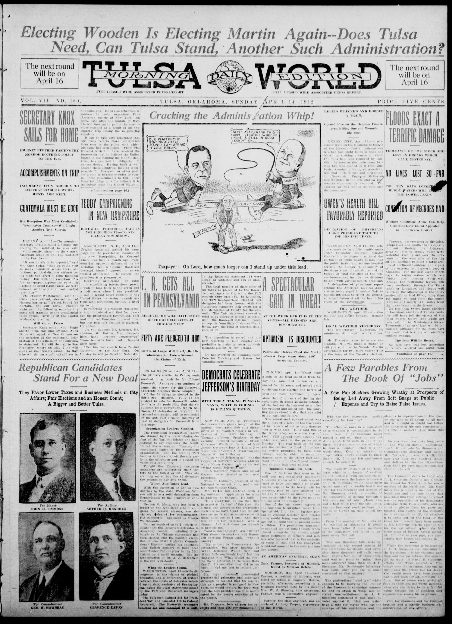 Tulsa Daily World (Tulsa, Okla.), Vol. 7, No. 180, Ed. 1 Sunday, April 14, 1912                                                                                                      [Sequence #]: 1 of 16