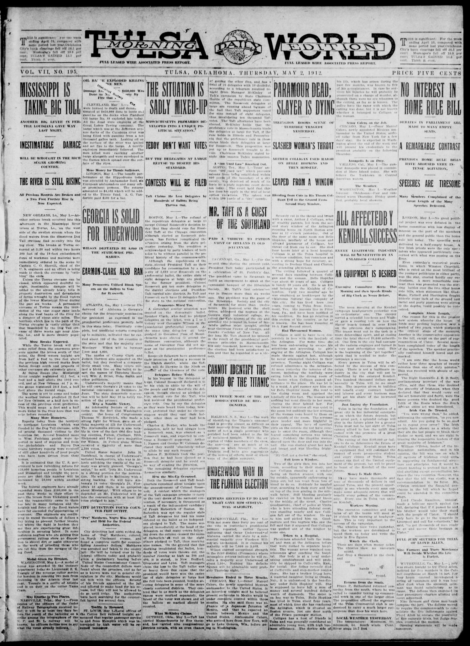 Tulsa Daily World (Tulsa, Okla.), Vol. 7, No. 195, Ed. 1 Thursday, May 2, 1912                                                                                                      [Sequence #]: 1 of 8