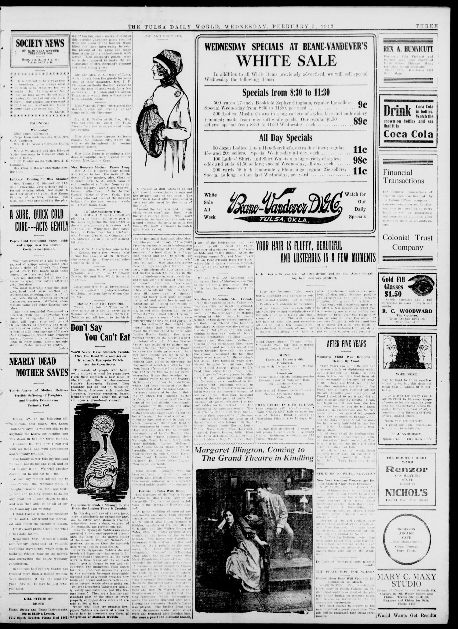 Tulsa Daily World (Tulsa, Okla.), Vol. 8, No. 122, Ed. 1 Wednesday, February 5, 1913                                                                                                      [Sequence #]: 3 of 8