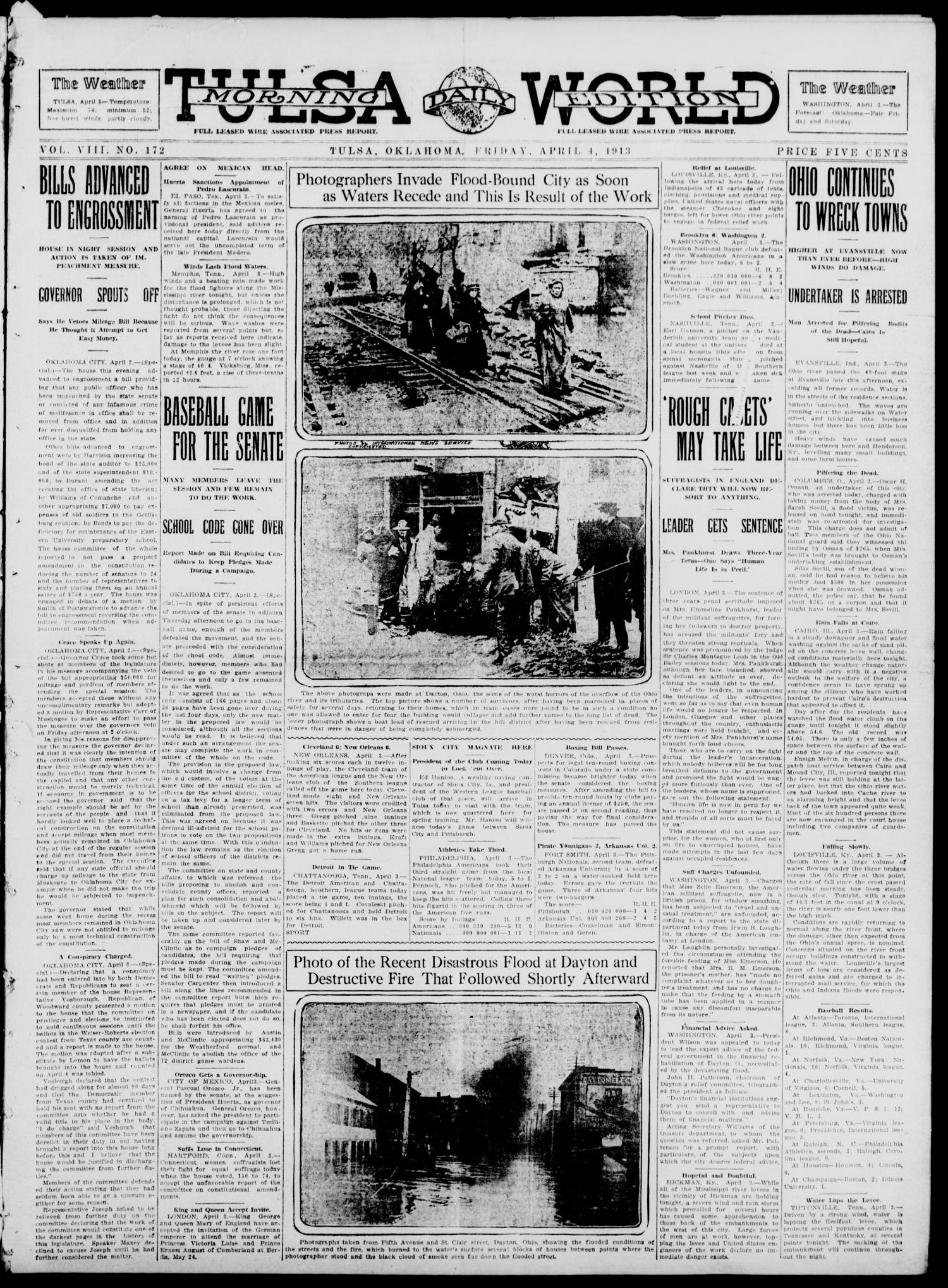 Tulsa Daily World (Tulsa, Okla.), Vol. 8, No. 172, Ed. 1 Friday, April 4, 1913                                                                                                      [Sequence #]: 1 of 10