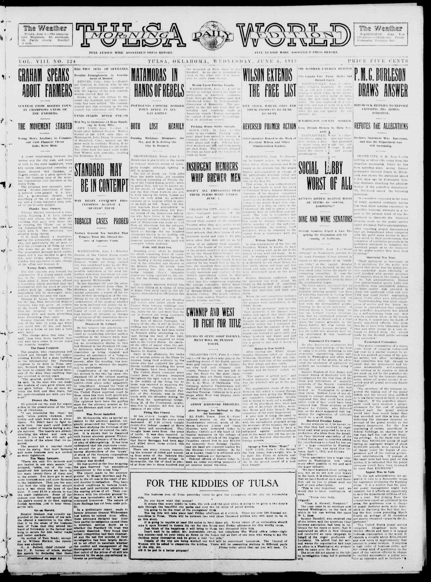 Tulsa Daily World (Tulsa, Okla.), Vol. 8, No. 224, Ed. 1 Wednesday, June 4, 1913                                                                                                      [Sequence #]: 1 of 8