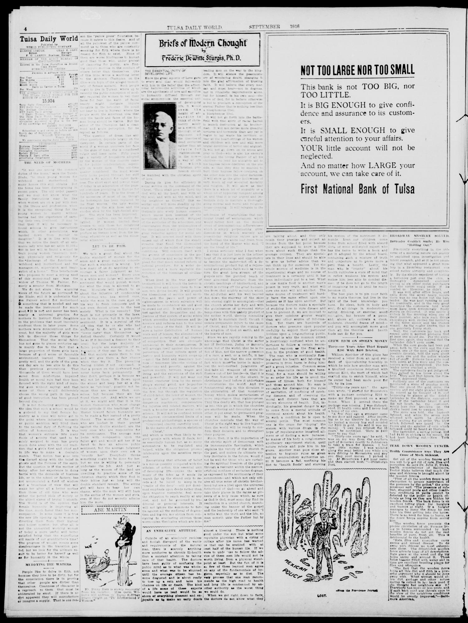 Tulsa Daily World (Tulsa, Okla.), Vol. 11, No. 314, Ed. 1 Tuesday, September 19, 1916                                                                                                      [Sequence #]: 4 of 12