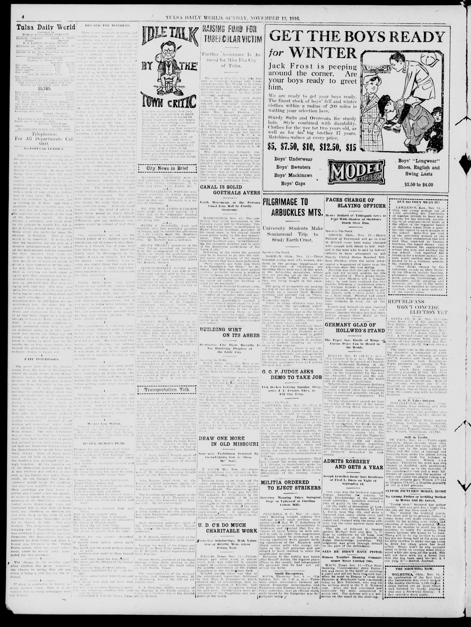 Tulsa Daily World (Tulsa, Okla.), Vol. 12, No. 53, Ed. 1 Sunday, November 12, 1916                                                                                                      [Sequence #]: 4 of 32
