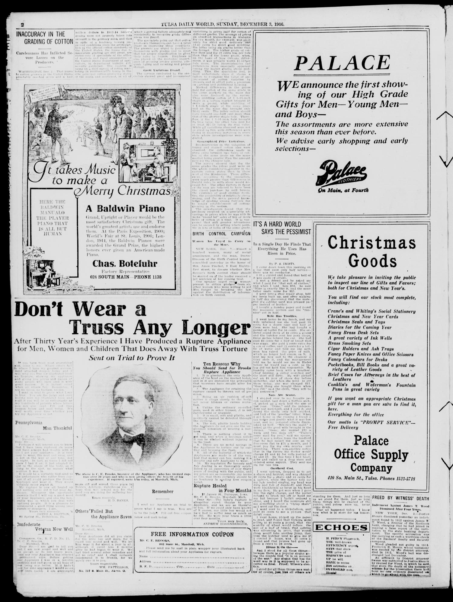 Tulsa Daily World (Tulsa, Okla.), Vol. 12, No. 74, Ed. 1 Sunday, December 3, 1916                                                                                                      [Sequence #]: 2 of 48
