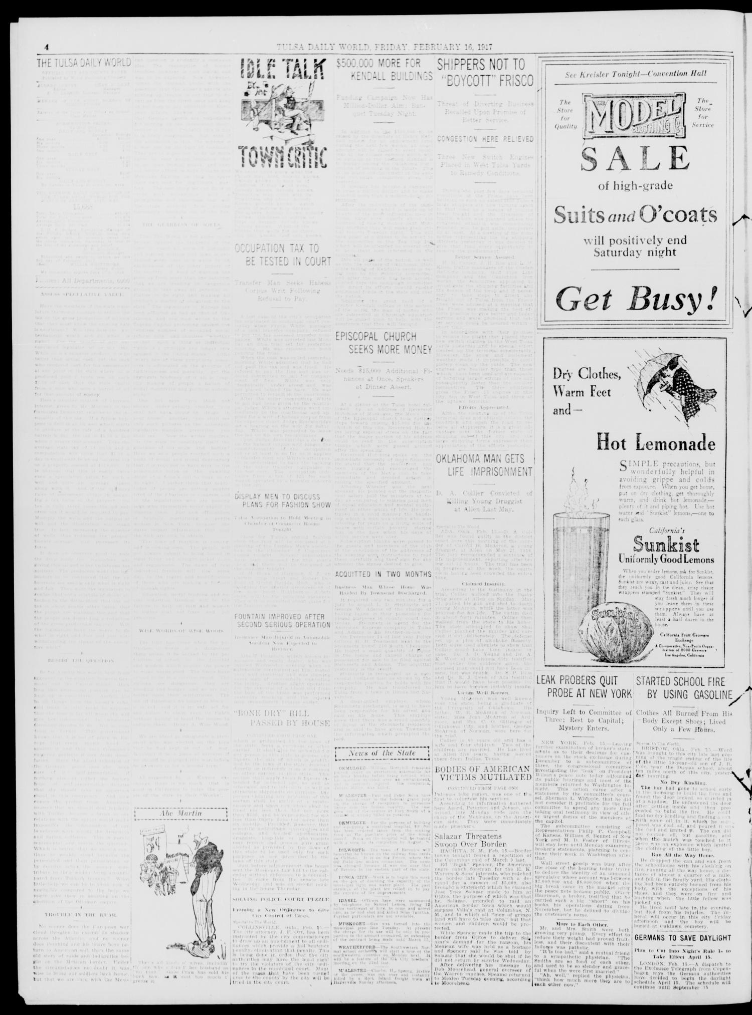 Tulsa Daily World (Tulsa, Okla.), Vol. 12, No. 149, Ed. 1 Friday, February 16, 1917                                                                                                      [Sequence #]: 4 of 12