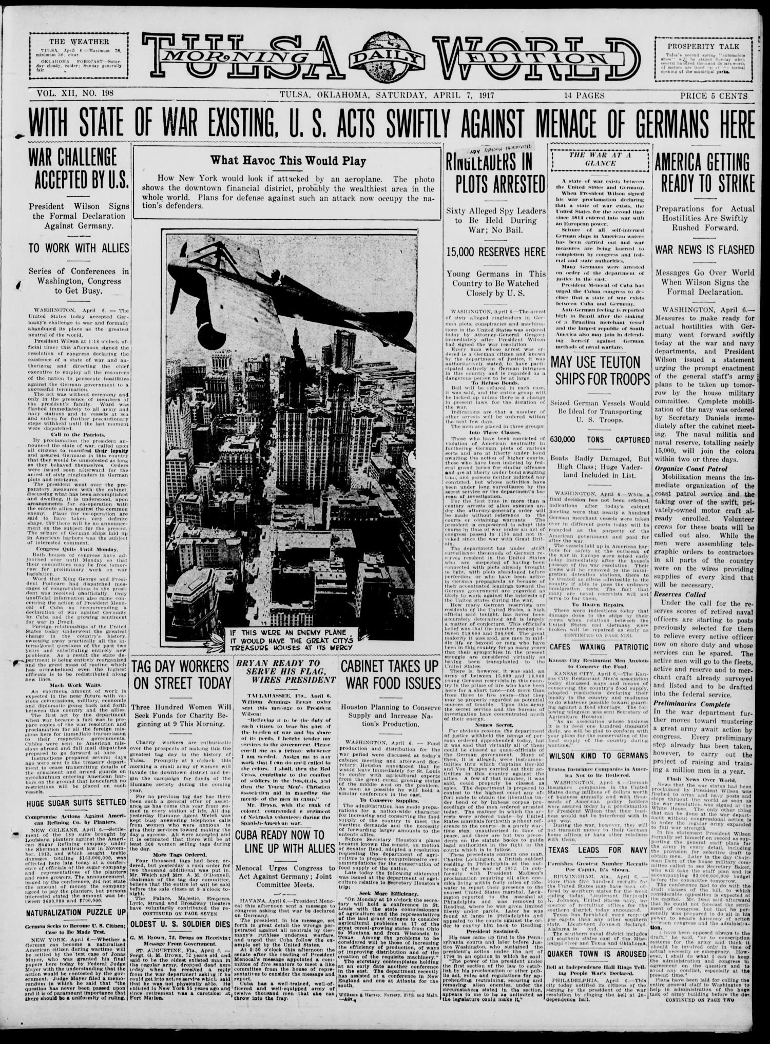 Tulsa Daily World (Tulsa, Okla.), Vol. 12, No. 198, Ed. 1 Saturday, April 7, 1917                                                                                                      [Sequence #]: 1 of 14