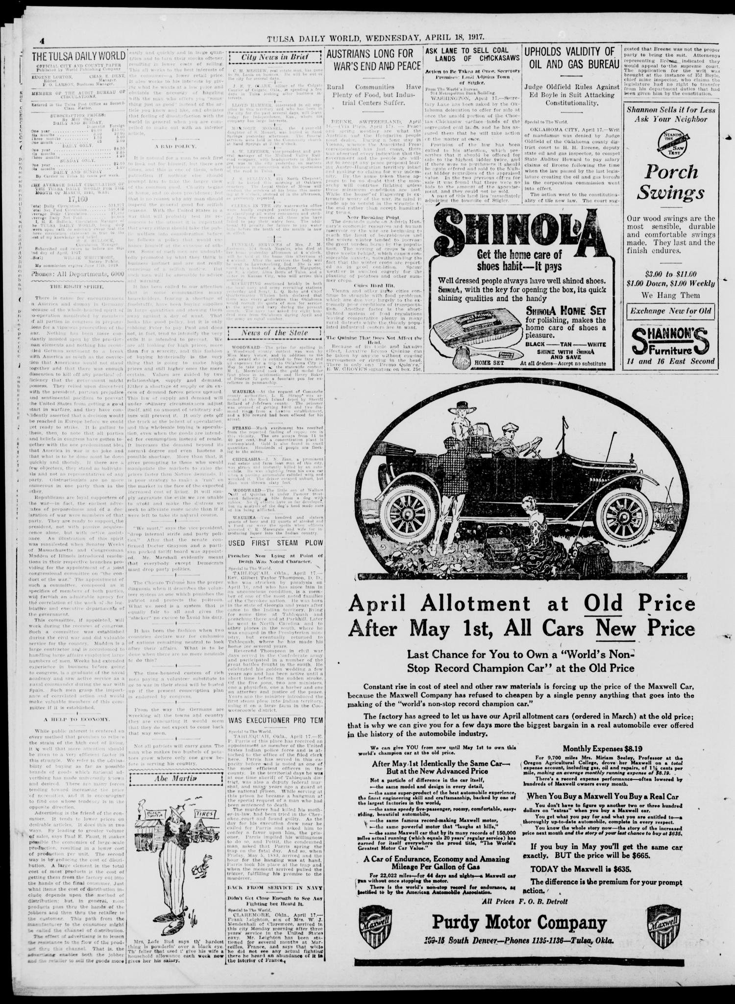 Tulsa Daily World (Tulsa, Okla.), Vol. 12, No. 208, Ed. 1 Wednesday, April 18, 1917                                                                                                      [Sequence #]: 4 of 12