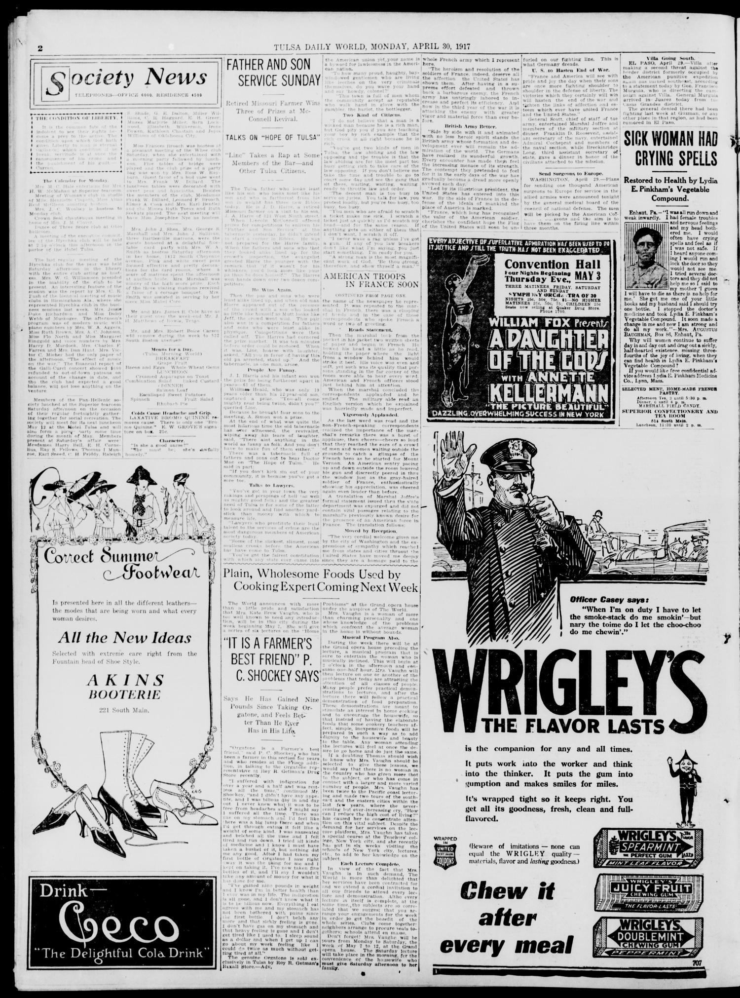Tulsa Daily World (Tulsa, Okla.), Vol. 12, No. 220, Ed. 1 Monday, April 30, 1917                                                                                                      [Sequence #]: 2 of 8