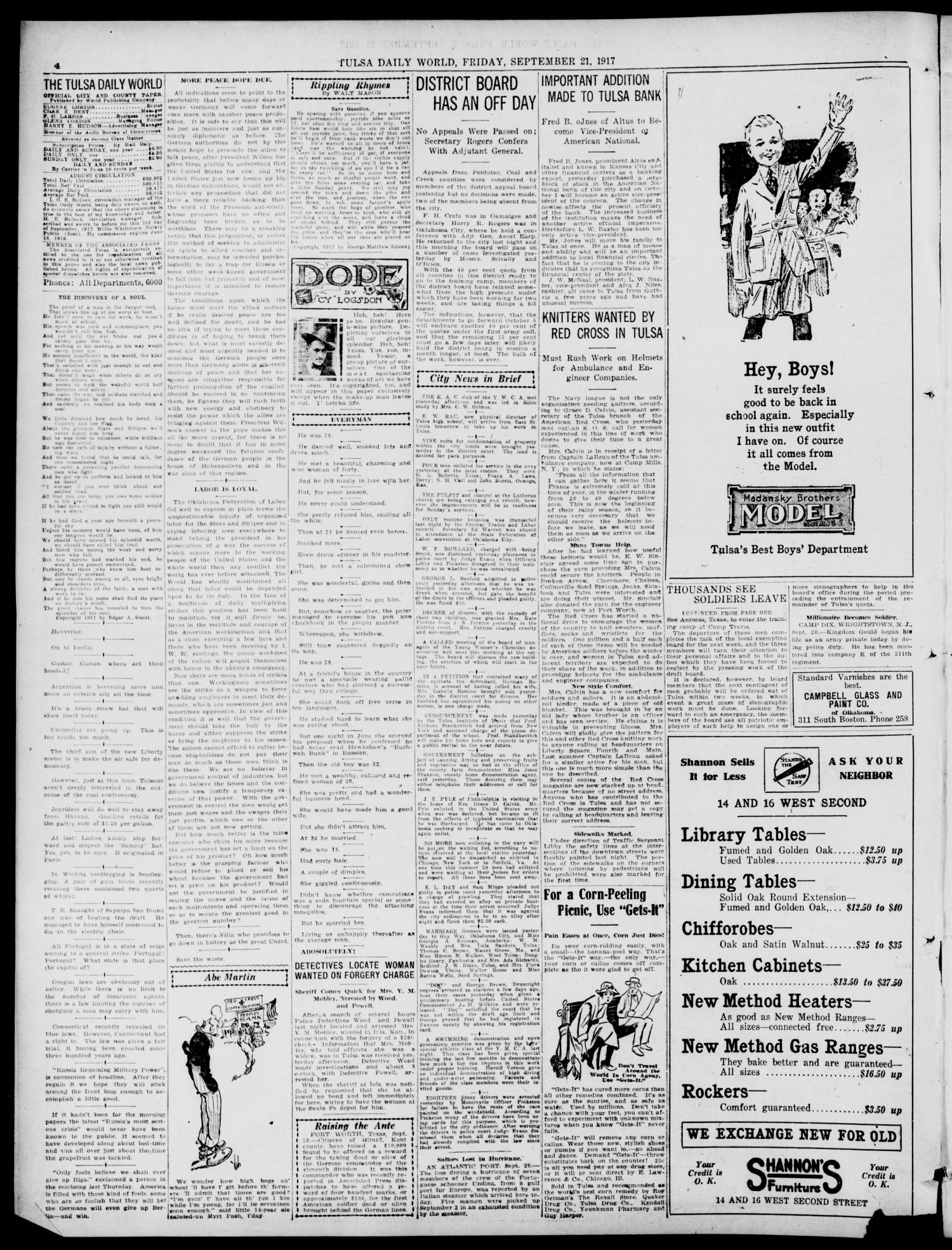 Tulsa Daily World (Tulsa, Okla.), Vol. 13, No. 3, Ed. 1 Friday, September 21, 1917                                                                                                      [Sequence #]: 4 of 12