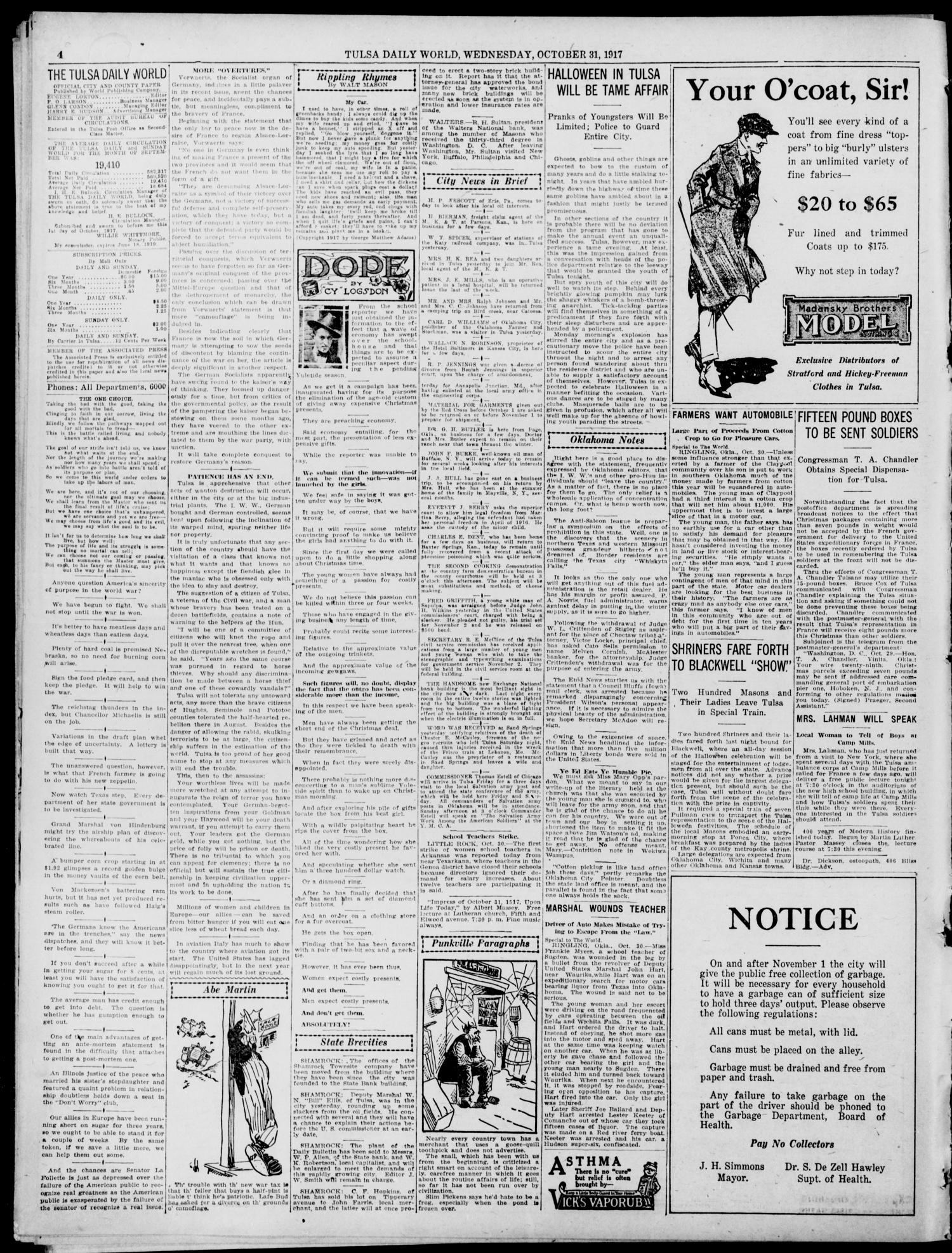 Tulsa Daily World (Tulsa, Okla.), Vol. 13, No. 43, Ed. 1 Wednesday, October 31, 1917                                                                                                      [Sequence #]: 4 of 14
