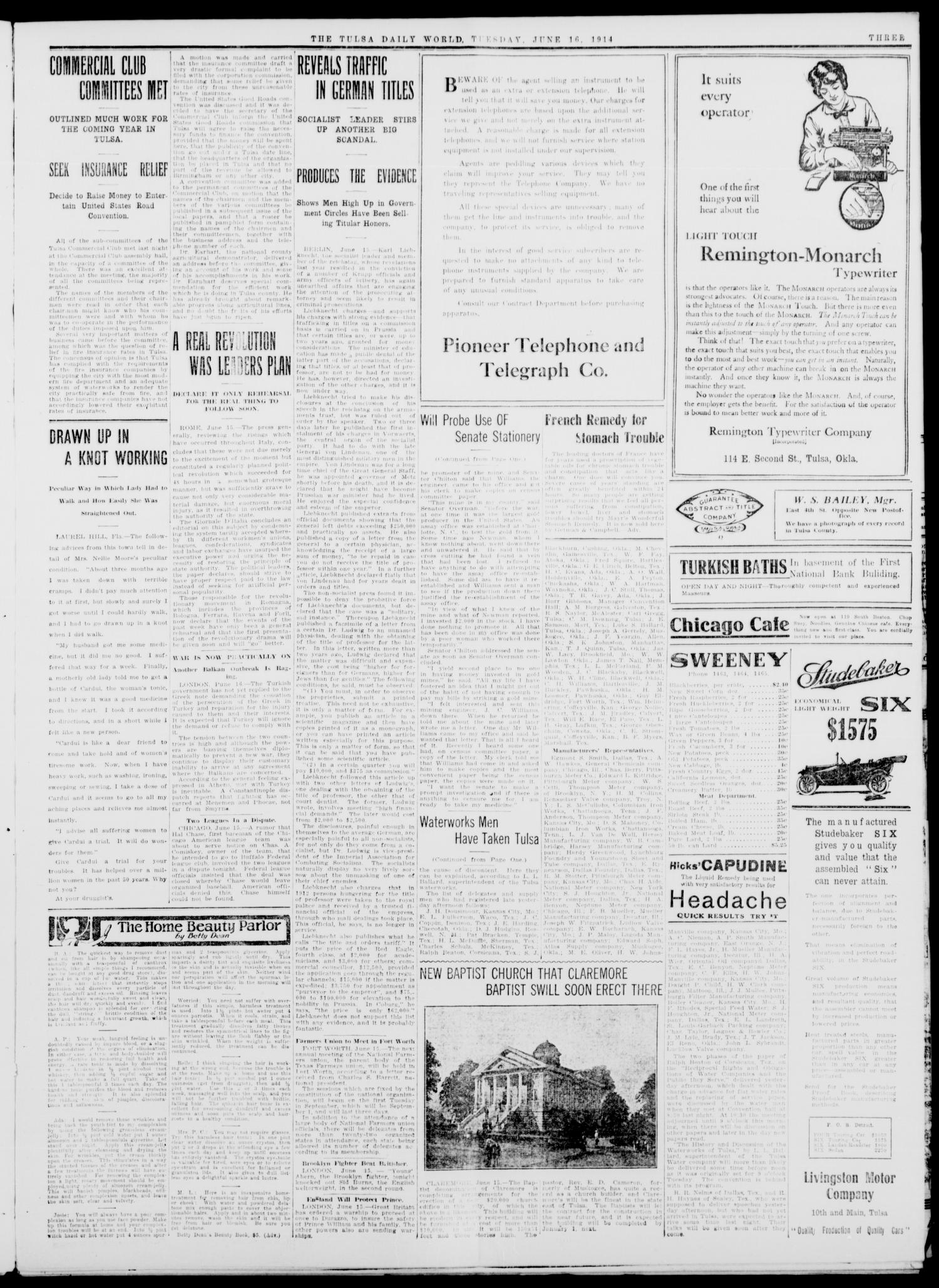Tulsa Daily World (Tulsa, Okla.), Vol. 9, No. 229, Ed. 1 Tuesday, June 16, 1914                                                                                                      [Sequence #]: 3 of 12