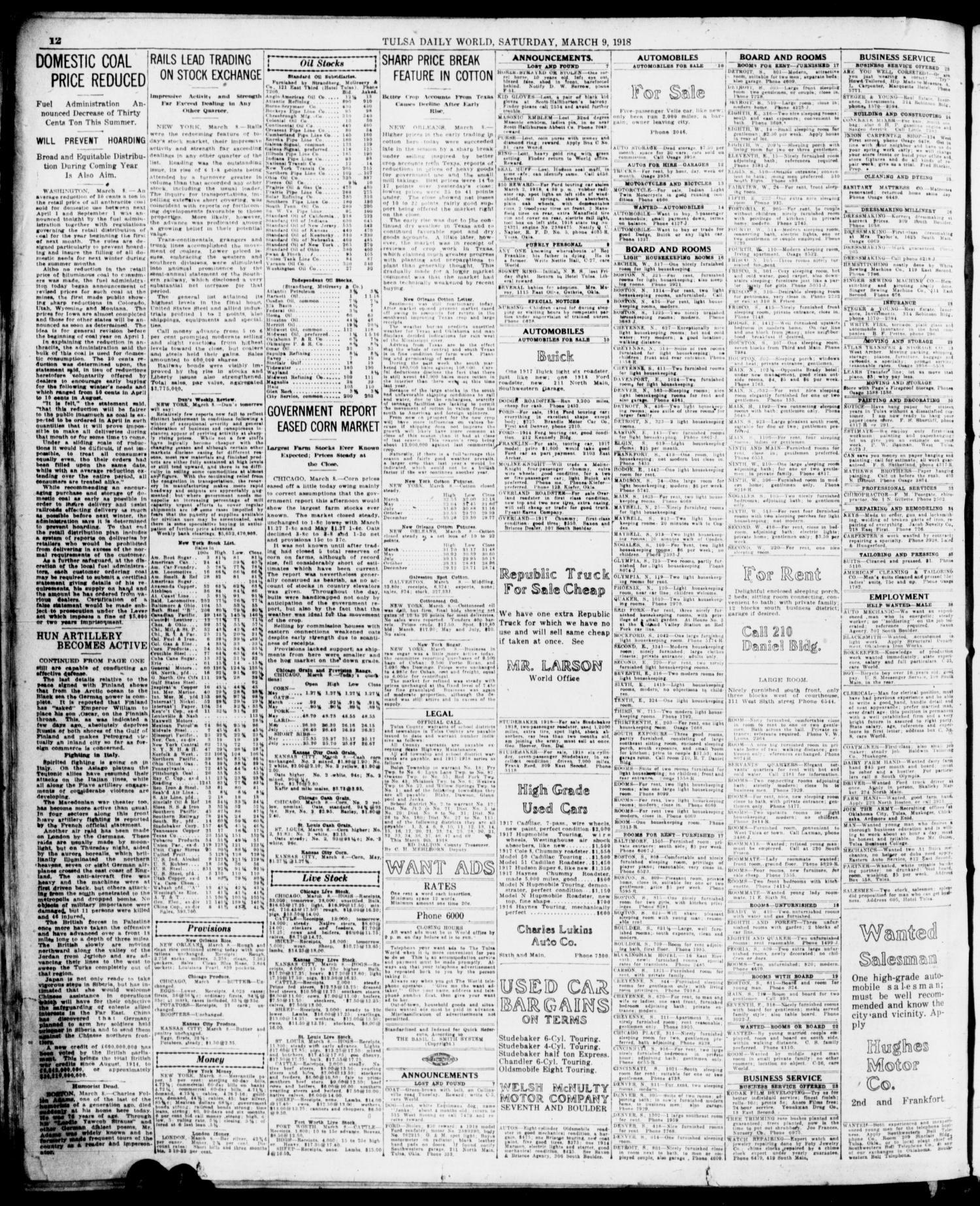 Tulsa Daily World (Tulsa, Okla ), Vol  13, No  173, Ed  1 Saturday