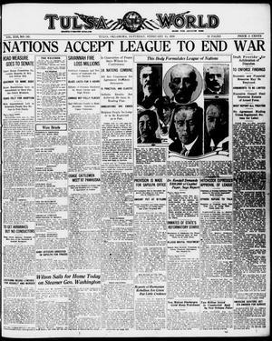 Primary view of Tulsa Daily World (Tulsa, Okla.), Vol. 13, No. 145, Ed. 1 Saturday, February 15, 1919