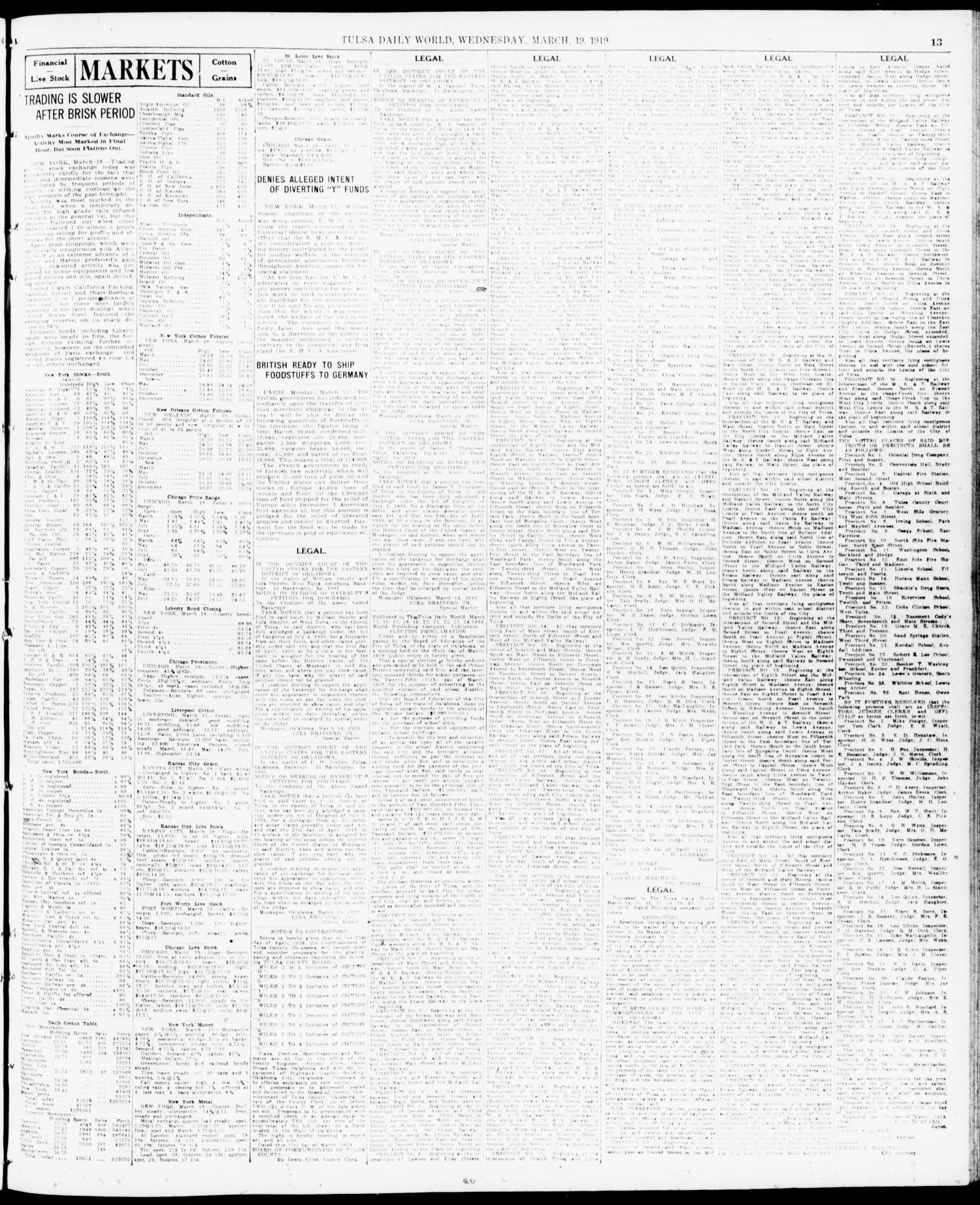 The Morning Tulsa Daily World Okla Vol 13 No 177 Ed Lg Ac 1 Pk 9 Nla Wednesday March 19 1919 Page Of 16 Gateway To Oklahoma History