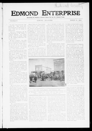 Primary view of object titled 'Edmond Enterprise (Edmond, Okla.), Vol. 1, No. 8, Ed. 1 Thursday, March 26, 1903'.