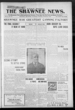 Primary view of object titled 'The Shawnee News. (Shawnee, Okla.), Vol. 3, No. 168, Ed. 1 Thursday, August 25, 1904'.