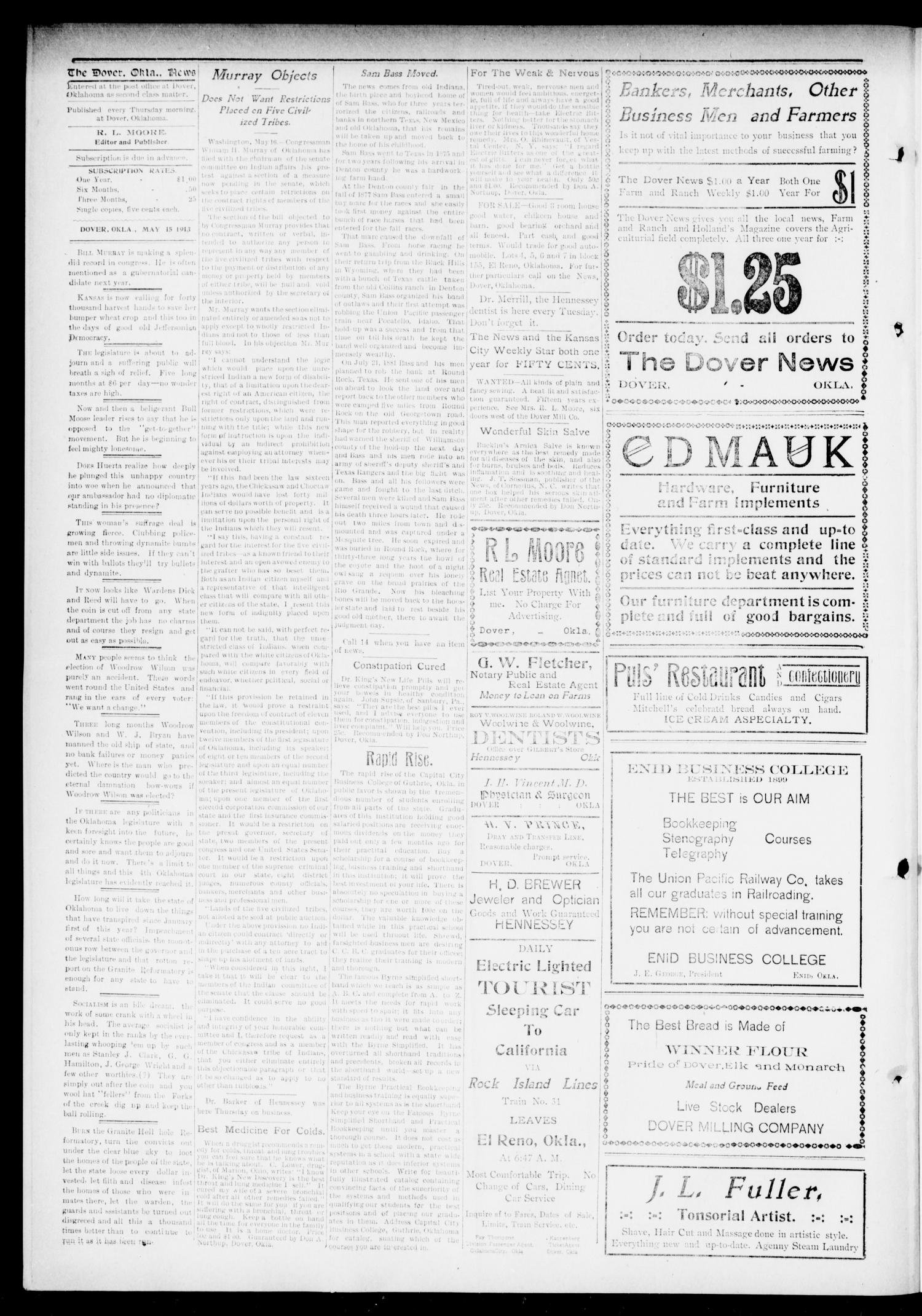 The Dover News Dover Okla Vol 13 No 10 Ed 1 Thursday May 15 1913 Page 4 of 8 The Gateway to Oklahoma History