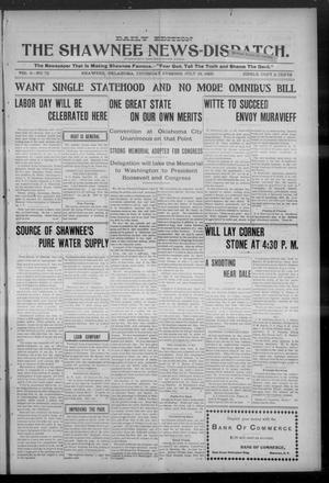 Primary view of object titled 'The Shawnee News-Dispatch. (Shawnee, Okla.), Vol. 9, No. 76, Ed. 1 Thursday, July 13, 1905'.