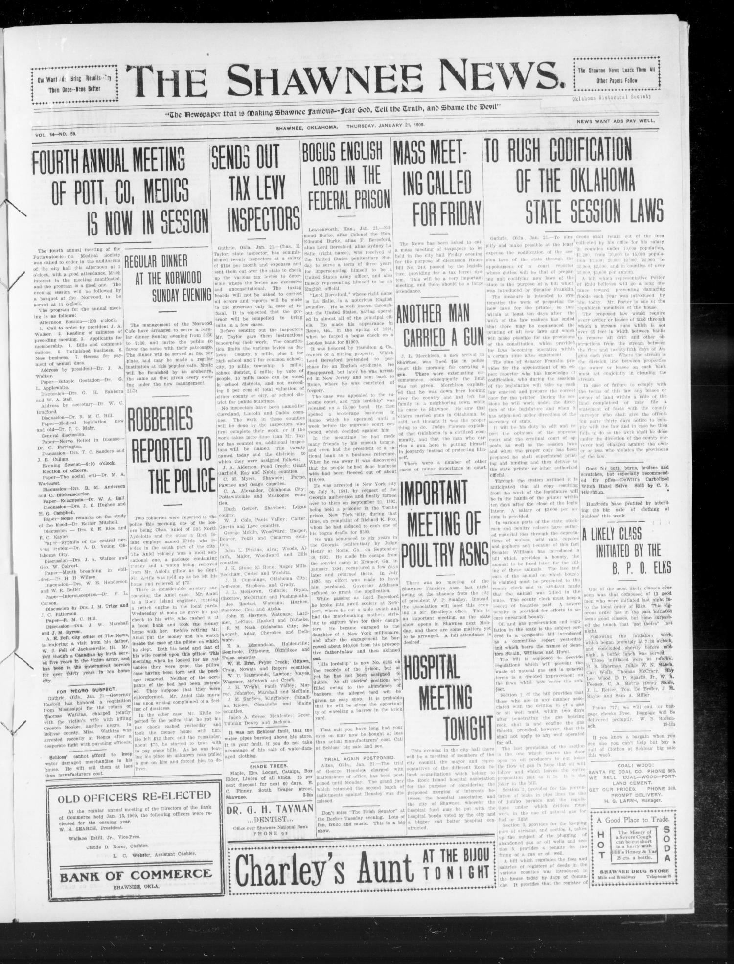 The Shawnee News. (Shawnee, Okla.), Vol. 14, No. 59, Ed. 1 Thursday, January 21, 1909                                                                                                      [Sequence #]: 1 of 6