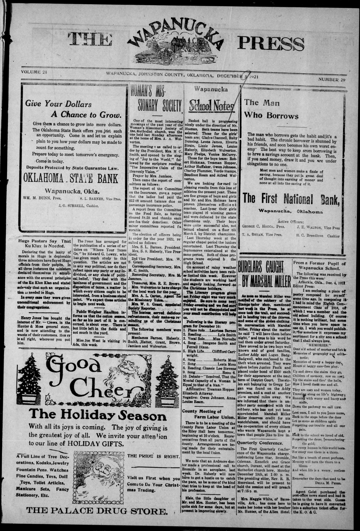The Wapanucka Press (Wapanucka, Okla.), Vol. 21, No. 29, Ed. 1 Friday, December 9, 1921                                                                                                      [Sequence #]: 1 of 8