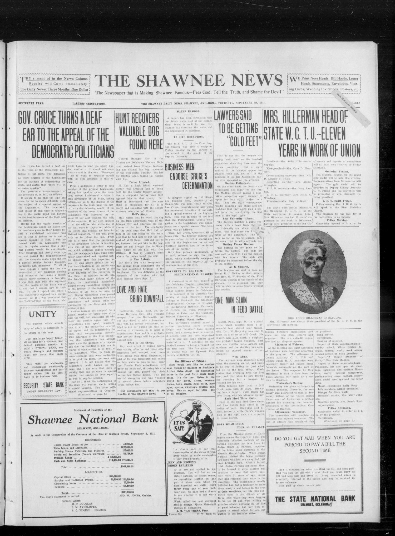 The Shawnee News (Shawnee, Okla.), Vol. 16, No. 158, Ed. 1 Thursday, September 28, 1911                                                                                                      [Sequence #]: 1 of 4