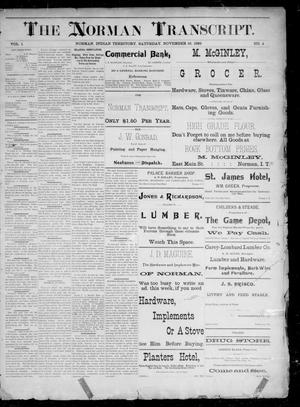 Primary view of object titled 'The Norman Transcript. (Norman, Indian Terr.), Vol. 01, No. 04, Ed. 1 Saturday, November 16, 1889'.