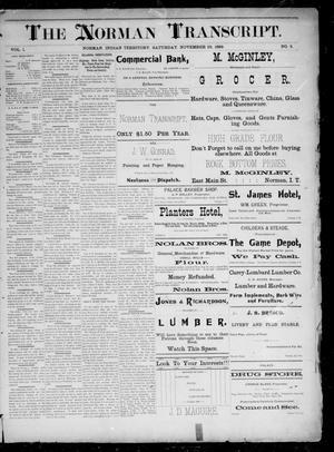Primary view of The Norman Transcript. (Norman, Indian Terr.), Vol. 01, No. 05, Ed. 1 Saturday, November 23, 1889