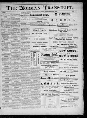 Primary view of The Norman Transcript. (Norman, Indian Terr.), Vol. 01, No. 07, Ed. 1 Saturday, December 7, 1889