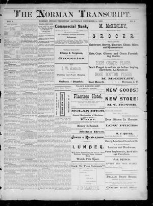 Primary view of The Norman Transcript. (Norman, Indian Terr.), Vol. 01, No. 08, Ed. 1 Saturday, December 14, 1889