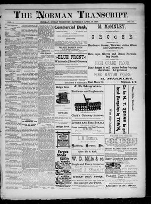 Primary view of The Norman Transcript. (Norman, Indian Terr.), Vol. 01, No. 26, Ed. 1 Saturday, April 19, 1890