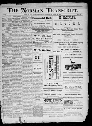 Primary view of The Norman Transcript. (Norman, Okla. Terr.), Vol. 01, No. 34, Ed. 1 Saturday, June 14, 1890