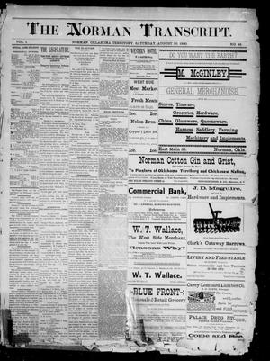 Primary view of The Norman Transcript. (Norman, Okla. Terr.), Vol. 01, No. 45, Ed. 1 Saturday, August 30, 1890