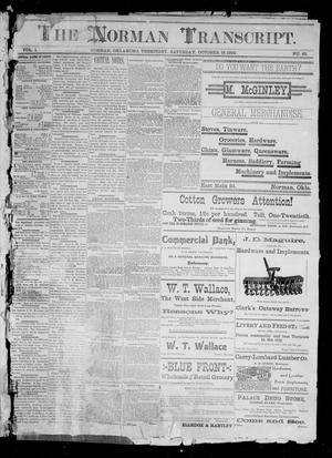 Primary view of The Norman Transcript. (Norman, Okla. Terr.), Vol. 01, No. 52, Ed. 1 Saturday, October 18, 1890
