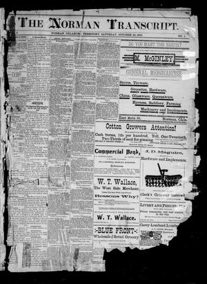 Primary view of object titled 'The Norman Transcript. (Norman, Okla. Terr.), Vol. 02, No. 01, Ed. 1 Saturday, October 25, 1890'.
