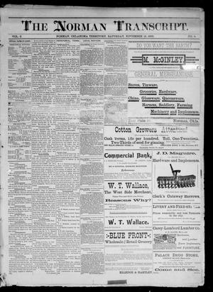 Primary view of object titled 'The Norman Transcript. (Norman, Okla. Terr.), Vol. 02, No. 04, Ed. 1 Saturday, November 15, 1890'.