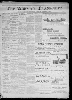 Primary view of object titled 'The Norman Transcript. (Norman, Okla. Terr.), Vol. 02, No. 05, Ed. 1 Saturday, November 22, 1890'.