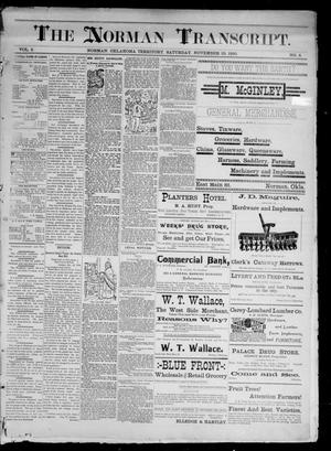 Primary view of object titled 'The Norman Transcript. (Norman, Okla. Terr.), Vol. 02, No. 06, Ed. 1 Saturday, November 29, 1890'.